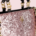 VG black handbag & light pink glitter