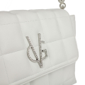 VG white quilted shoulder bag with pearls