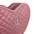 VG pink quilted thin glitter heart shoulder bag