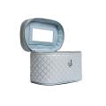 VG Beauty Case matelassé bleu poussiéreux à paillettes fines avec miroir