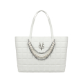 VG white quilted shopping bag with chain and pearl decoration