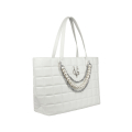 VG shopping bianca trapuntata con decorazione di catene e perle