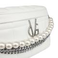 VG marsupio bianco trapuntato con decorazione di catena e perle