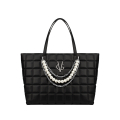 VG black quilted shopping bag with chain and pearl decoration