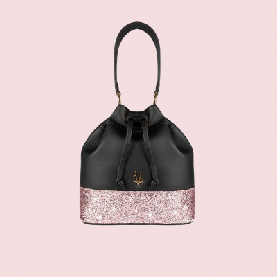 VG black bucket bag & light pink glitter