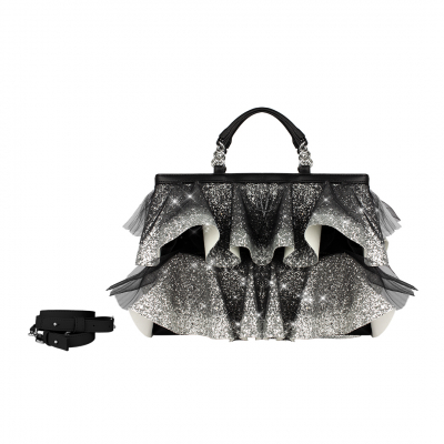 VG Black bag with silver glitter rouches & tulle