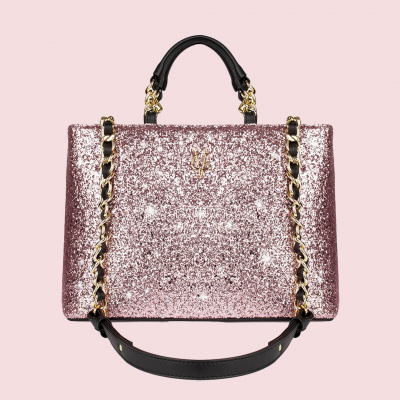 VG black handbag & light pink glitter
