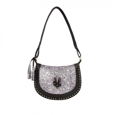 VG glitter grey half-moon bag