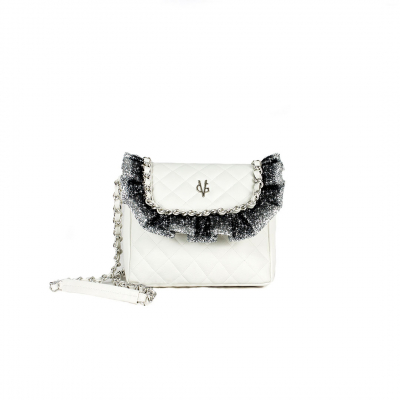 VG white quilted shoulder bag glitter rouches