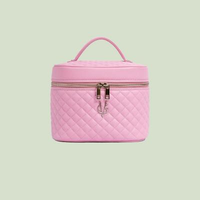 Trousse de beauté VG matelassée rose bonbon avec miroir
