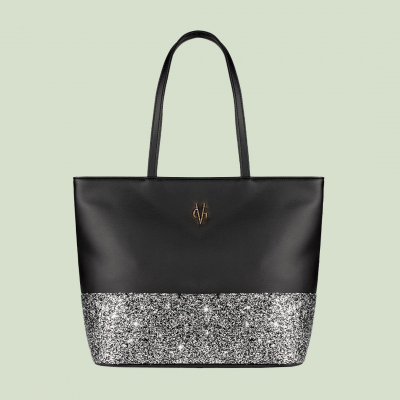 VG black shopping bag & grey glitter