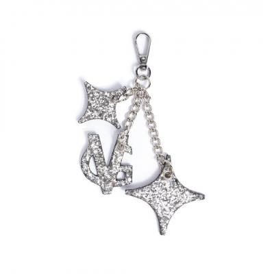 VG Silver glitter monogram keyring charm