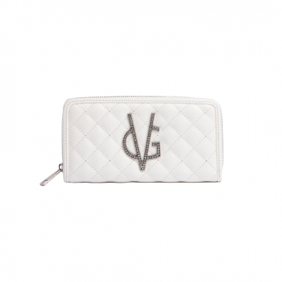 VG white quilted wallet and crystal logo