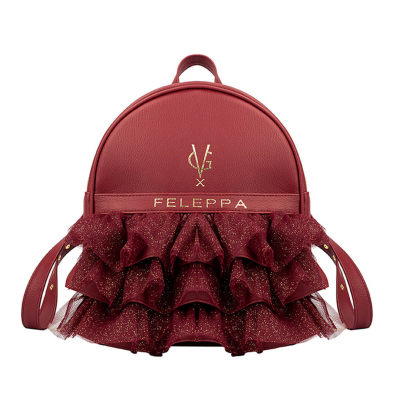 VG x FELEPPA - Bordeaux rouches tulle lurex backpack