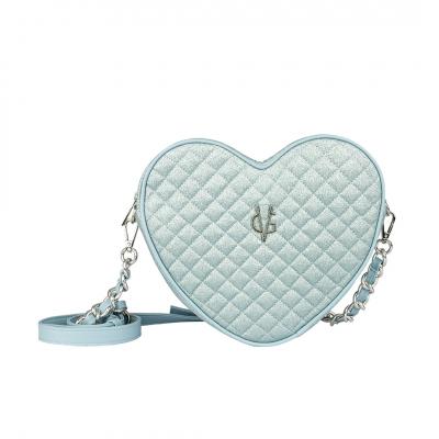 VG light blue quilted thin glitter heart shoulder bag