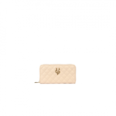 VG light pink quilted wallet