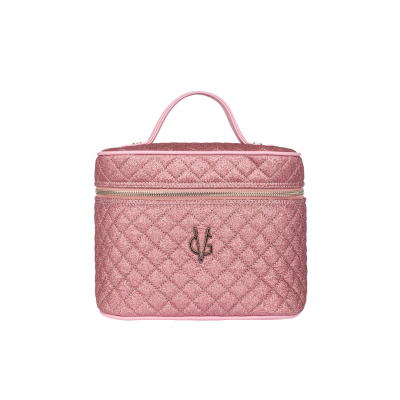 VG Beauty Case quilted thin pink glitter with mirror