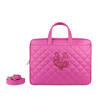 VG Fuchsia quilted pc holder & fuchsia glitter logo