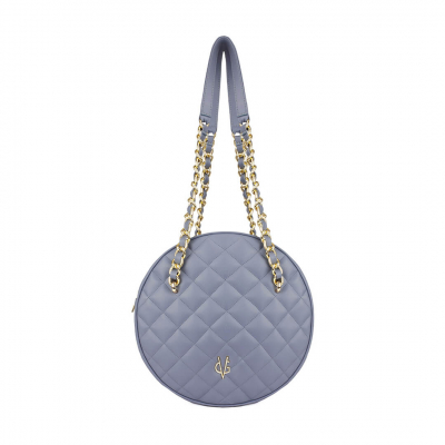 VG violet quilted big round bag
