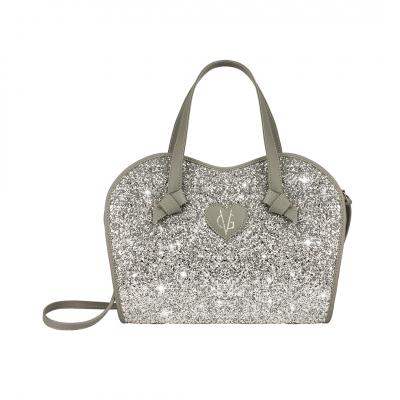 ❤️VG Low Cost-Too Chic borsa a mano grigia & glitter argento