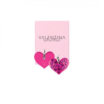❤️VG Love-her! Hoop earrings with medium fuchsia heart and fuchsia crystals