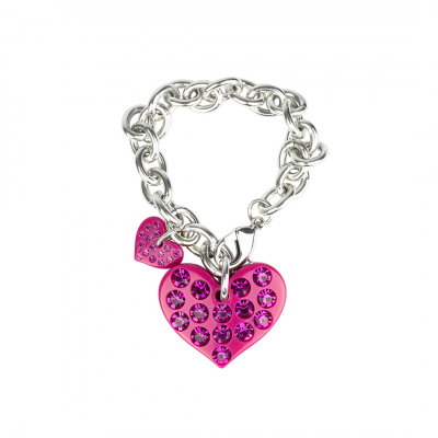 ❤️VG bracelet with fuchsia hearts and fuchsia crystals