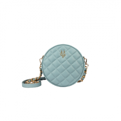 VG green sage quilted small round bag