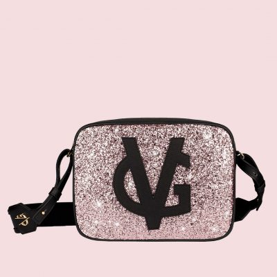 VG black shoulder big soap bag & light pink glitter