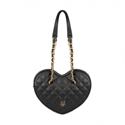 VG black quilted big heart bag