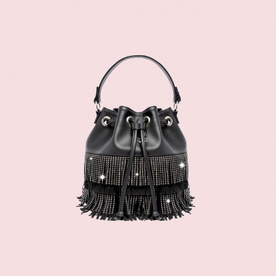 VG black Urban fringed bucket bag