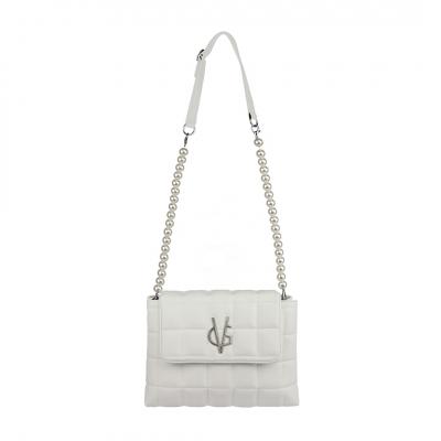 VG borsa trapuntata bianca a tracolla con perle