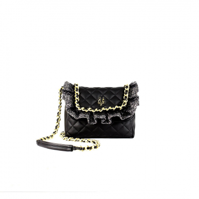 VG black quilted shoulder bag glitter rouches