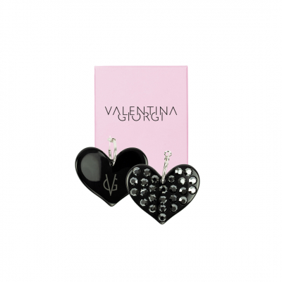 PREORDER NOW - VG Love-her! Hoop earrings with black heart and hematite crystals