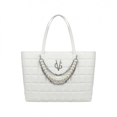 Sac shopping matelassé blanc VG avec décoration chaîne et perles