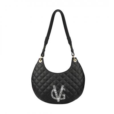 VG borsa mezzaluna nera logo glitter sale e pepe