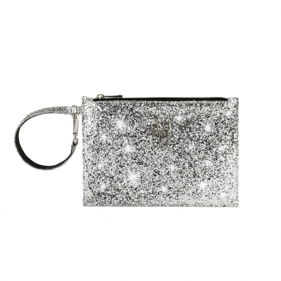 VG Glitter silver small pochette for customized bag