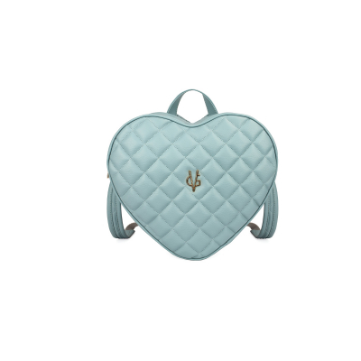 Vg green sage heart quilted backpack