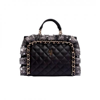 VG sac à main matelassé noir et rouches glitter