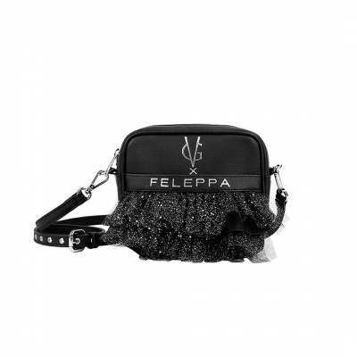 VG X FELEPPA - Mini saponetta rouches in tulle lurex nero