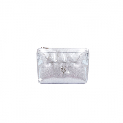 VG beach clutch with rouches and silver glitter