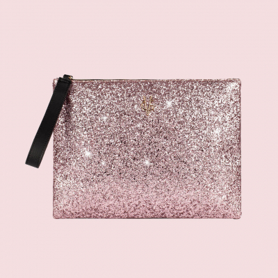 VG black clutch & light pink glitter
