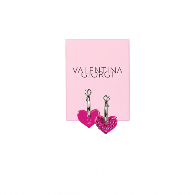 ❤️VG Love-her! Hoop earrings with small fuchsia heart and fuchsia crystals
