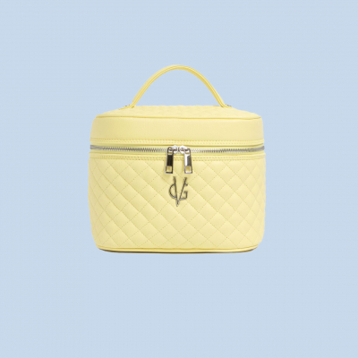 VG Vanilla yellow quilted beauty case with mirror