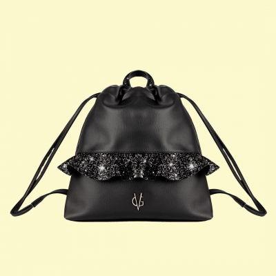 VG black glitter rouches backpack