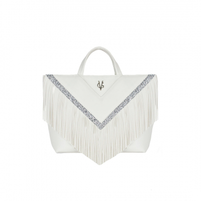 VG30 shopping bag white fringe