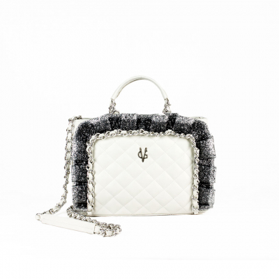 VG white quilted handbag glitter rouches