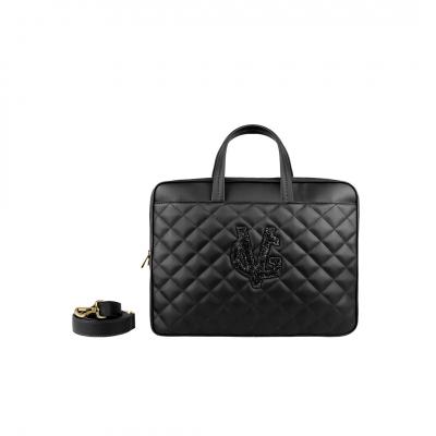 VG Sacoche pour ordinateur portable matelassée noire & logo pailleté noir