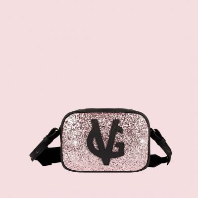 Vg petit sac à bandoulière savon noir & glitter rose clair
