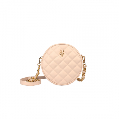 VG light pink quilted small round bag