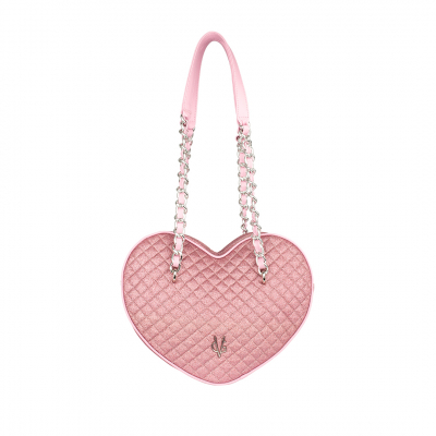 VG large heart bag in pink quilted thin glitter